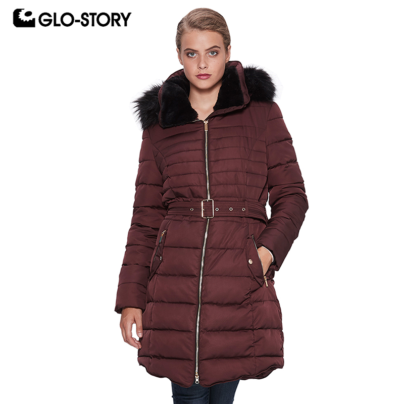 GLO-STORY Women's 2018 Wool Liner Thick Padded Jacket Coats Woman Fur Hooded Winter Long   Parkas   WMA-6693 6694 6695