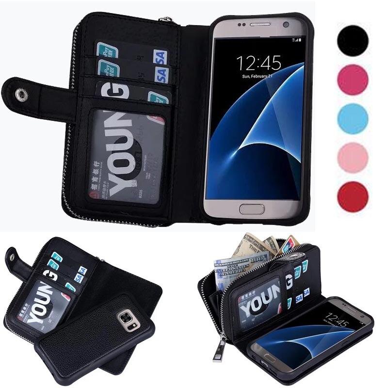 bilder für Multifunktions 2 in 1 Abnehmbare Flip Leder Brieftasche Fall Für Samsung Galaxy S6/S7/S6 Rand/S7 kanten Phone Cases Reißverschluss Geldbörse Pouchs