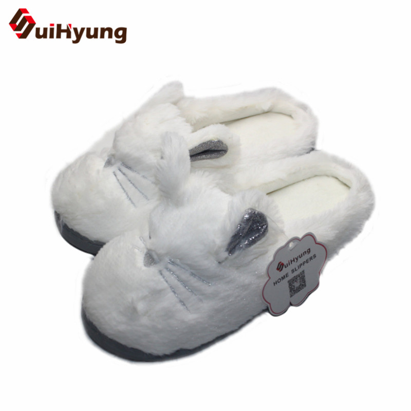 Suihyung Women Winter Home Slippers Indoor Shoes Cute White Cat Shape Plush Warm Slippers Female Bedroom Soft Bottom Floor Shoes tolaitoe autumn winter animals fox household slippers soft soles floor with indoor slippers plush home slippers