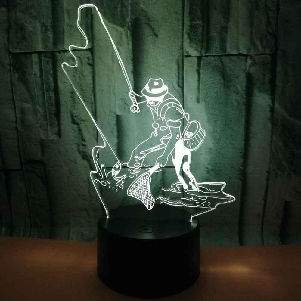 Pesca colorido toque 3d lâmpada acrílico ilusão 3d conduziu a lâmpada de mesa do quarto das crianças decoração lâmpadas de mesa 3d para sala estar