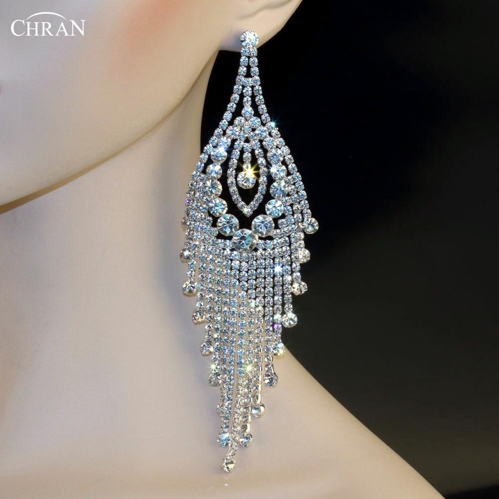 Chran Sparking Crystal Wedding Jewelry Silver Dangle Earrings Hot Sale  Classic Costume Jewelry Rhinestone Long Tassels