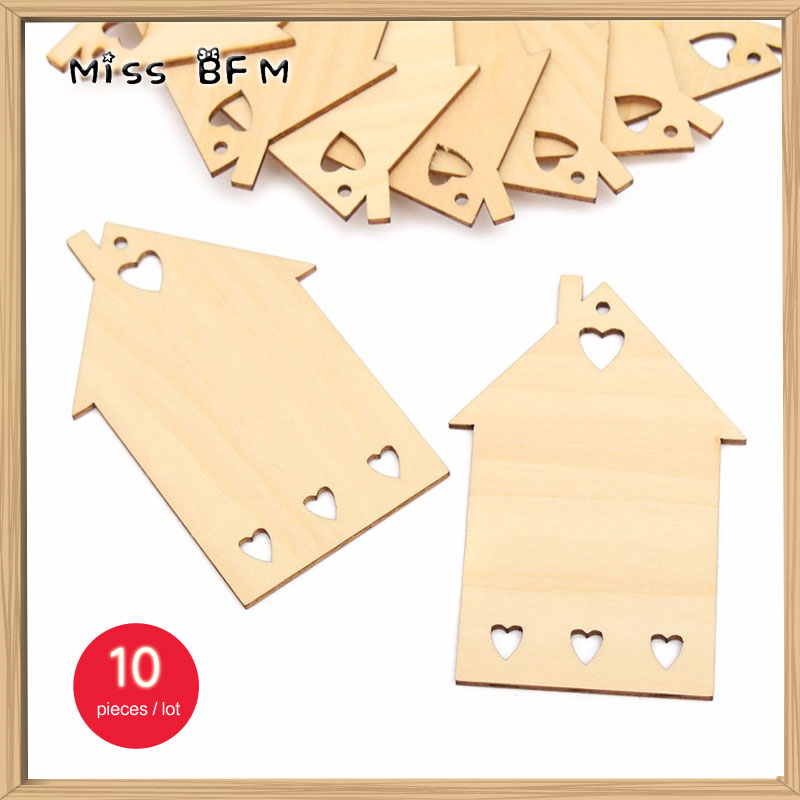 (10pcs/lot) Wooden House Home Gift Tag 85X50mm Blank Craft Embellishment Unfinished with Holes Cutouts Plaque Card Making Wood
