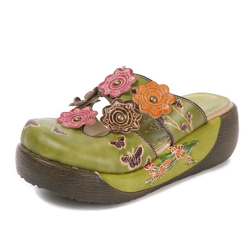 Ultra Light Platform Sandals Closed Toe Flower Slippers Big Size Female Beach Shoes Green Wedge Sandals