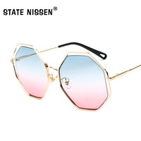 ee4c747b92 STATE NISSEN Polygon Metal Frame Sunglasses Women Brand Designer Fashion  Gradient Sun Glasses Female UV400 Vintage