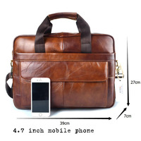 Genuine Leather genuine leather laptop bag Handbags Cowhide Men Crossbody Bag Men's Travel brown leather briefcase