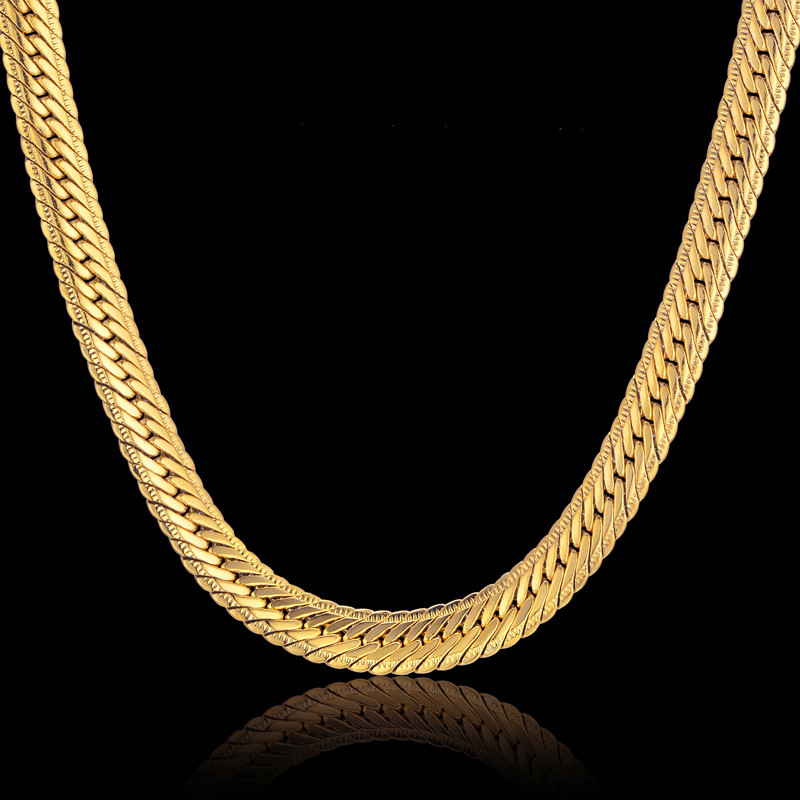 Hiphop Gold Chain For Men Hip Hop Chain Necklace 8MM Gold Color Curb Long Chain Necklaces Men's Jewelry Colar Collier