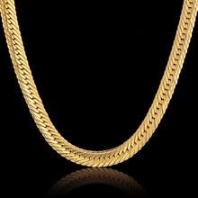 Hiphop Gold Chain For Men Hip Hop Chain Necklace 8MM Gold Color Curb Long Chain Necklaces Men's Jewelry Colar Collier