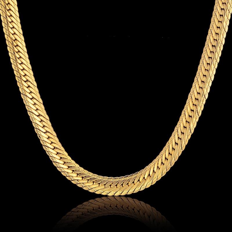 Hiphop cadena de oro para los hombres Hip Hop collar de cadena de 8mm de Color oro acera cadena collares joyería de los hombres colar Collier