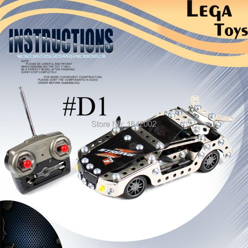Oyuncaklar ve Hobi Ürünleri'ten Bloklar'de 4CH RC Araba Metal Montaj Mini Hız RC Radyo Uzaktan Kumanda yarış arabaları En Iyi Metal Yapı Bloğu Kitleri Oyuncak Çocuklar Için'da  Grup 1