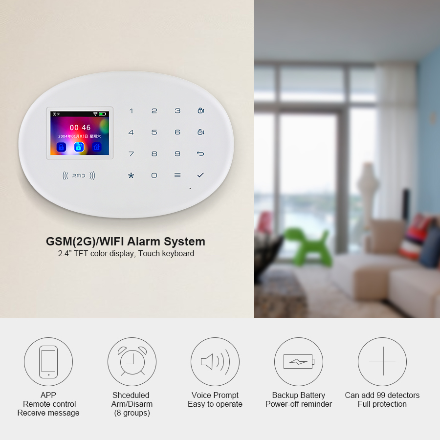 KERUI W20 Wireless WiFi GSM Home Security Alarm System 2.4 Inch Color Screen Burglar Alarm Panel Russian Spanish German Italian