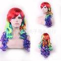 65 Cm Harajuku Lolita Wig Anime Cosplay Curly Wavy Synthetic Hair Seven Color Rainbow Wigs Peruca Peruke W211
