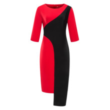 Women Color Block Bodycon Pencil Dress Woman Plus Size 3/4 Sleeves Work Sheath Dress Irregular Midi Office Lady Career Dresses все цены