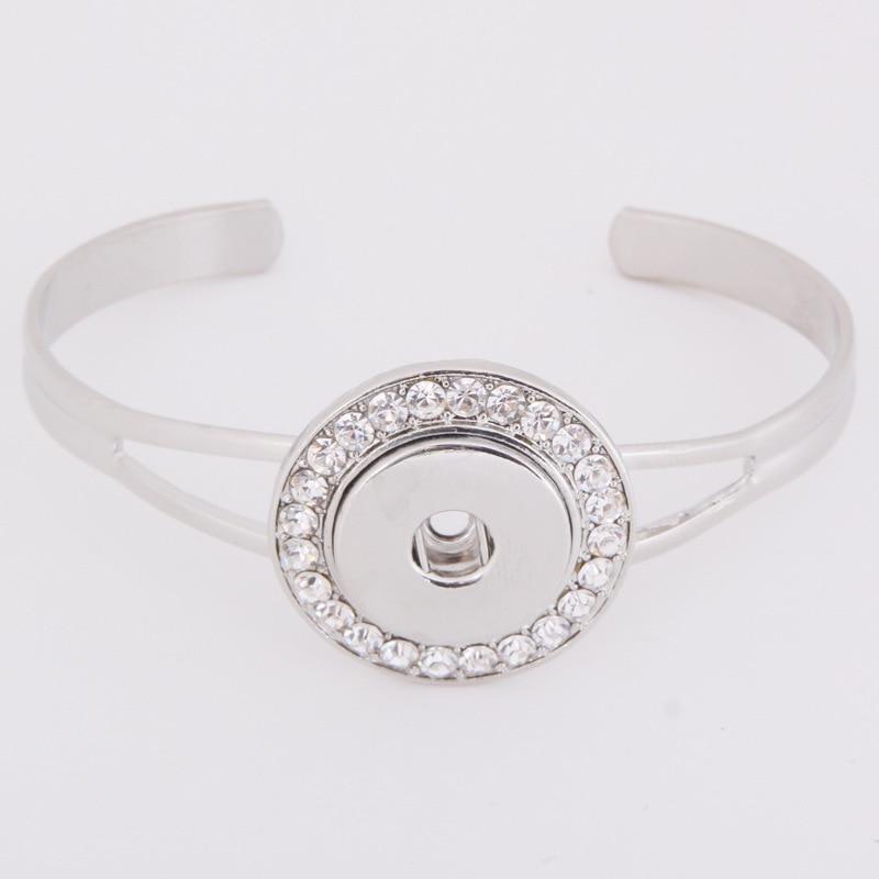 PAPAPRESS  Crystal Round Snaps Buttons Bracelet 10pcs/lot 18mm Metal Choker Snap Button Bracelet Bangle Snap Watch Jewelry W200