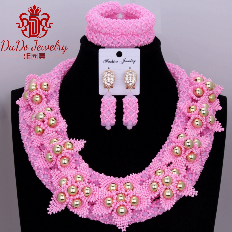Nigeria Wedding African Jewelry Set Cute Pink Gift Party Bridal Dubai Necklace Jewelry Set Womens Jewelry Free Shipping  Nigeria Wedding African Jewelry Set Cute Pink Gift Party Bridal Dubai Necklace Jewelry Set Womens Jewelry Free Shipping