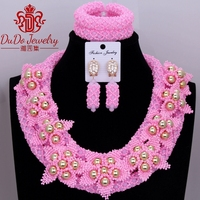 Nigeria Wedding African Jewelry Set Cute Pink Gift Party Bridal Dubai Necklace Jewelry Set Women's Jewelry Free Shipping