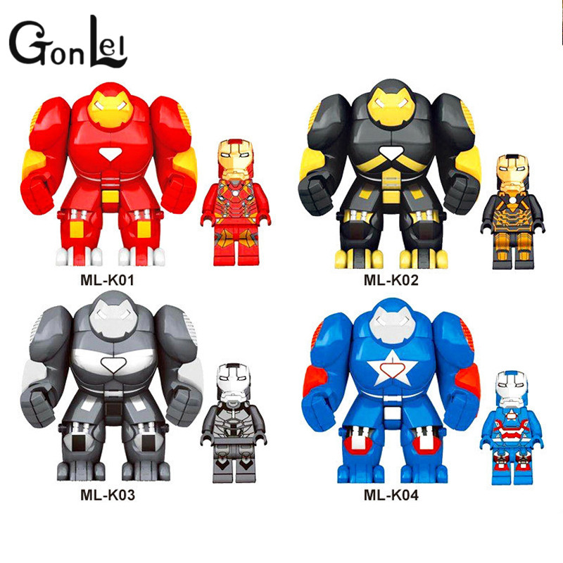 GonLeI 8pcs/lot Large Big & Small Size 7cm Building Blocks Super Heroes Thor Hulk Iron Man Buster Bricks children Toys new big size 40 40cm blocks diy baseplate 50 50 dots diy small bricks building blocks base plate green grey blue