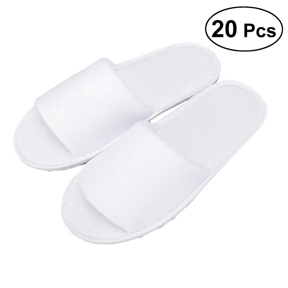 04d11869816 20 Pair Disposable Slippers Open Toe Non-Slip Home Hotel Spa Party Guest  Indoor Slippers