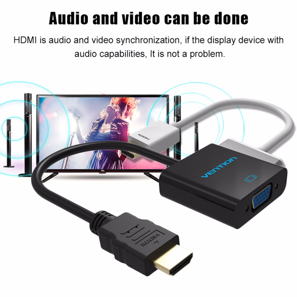 Vention V04/V05 Series HDMI To VGA Adapter Converter Cable Micro USB Power 3.5mm Audio Interface For XBOX HDTV PC Laptop