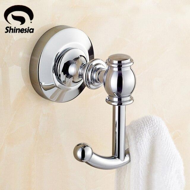 Chrome Polished Solid Br Bathroom Clothes Hangers Coat Towel Hooks Racks Wall Mounted