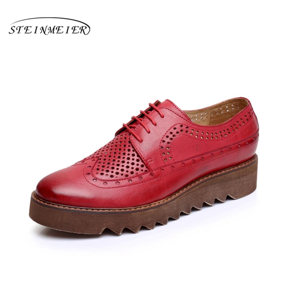 Véritable peau de mouton cuir brogue femmes yinzo designer vintage chaussures plates à la main plate-forme oxford chaussures 2018 hiver rouge