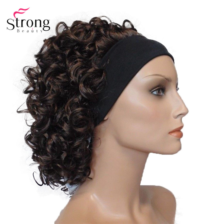 StrongBeauty Short Super Curly Dark Brown Silky Soft Headband Wig Synthetic Hair Wigs