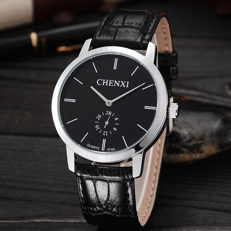 Fashion CHENXI Brand Simple Style Black Silver Leather Dress Quartz Wristwatches Business Wrist Watches Clock Hours for Men 074A