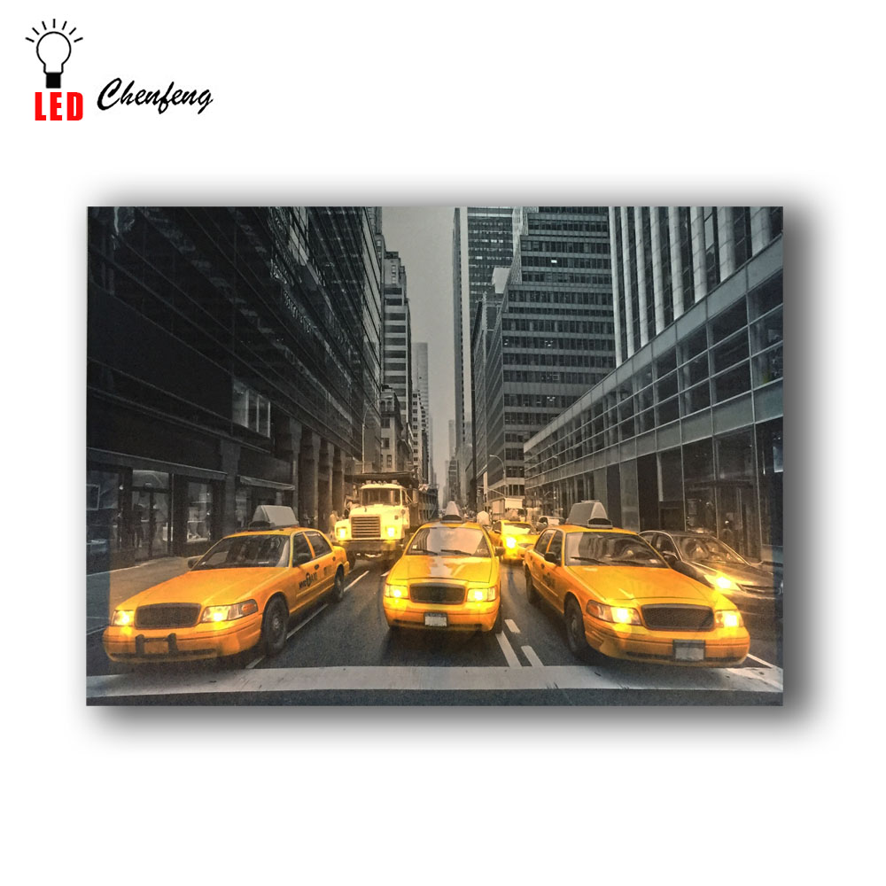 Modern Led Wall York Yellow Taxi Car Picture Canvas Art Light Up Painting  Framework Print Poster Home