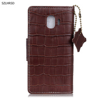 Hot Genuine Leather Crocodile Grain Magnetic Stand Flip Cover For Samsung Galaxy J2 Pro 2018 Luxury