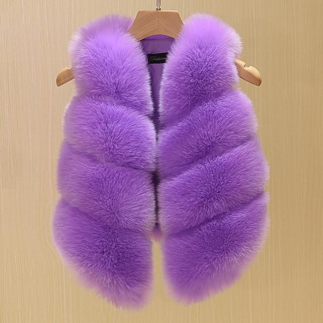 2017 Fashion Childrens Clothing Faux Fox Fur Vest European Style Toddler Baby Girls Waistcoat Winter Coat TZ135
