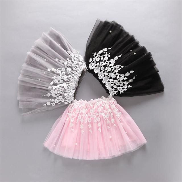 2016 Niñas Mini Faldas de Encaje Balón vestido de Estilo Princesa de La Muchacha Del Banquete de Boda de Verano de Malla Falda Ropa Niños de la Manera Ropa
