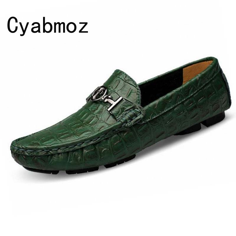 Hot Spring Autumn New Fashion Men Loafers Genuine Leather Creepers Crocodile Pattern Flats Driving Shoes Moccasin Zapatos Hombre men genuine leather shoes top brand new fashion casual loafers soft and comfortable oxfords crocodile skin flats zapatos hombre