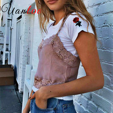 243ce53f41 UANLOE Slik Lace Crop Tops 2018 Spring Summer Sleeveless Women Tank Top  Brandy Melville Short Vintage