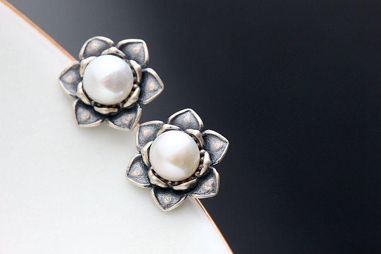 silver earrings with multi petal female natural pearls 925 Sterling Silver Earringssilver earrings with multi petal female natural pearls 925 Sterling Silver Earrings