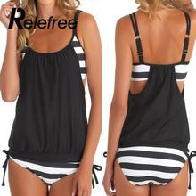 Swimwear Women plus Size Striped Wirefree Beachwear Swimsuit female Two-piece Tankini Bikinis trikini Bathing suit monokini