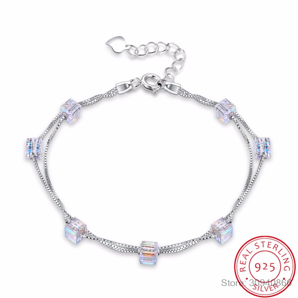 Us 10 99 50 Off Lekani Square Crystals From Swarovski 925 Silver Double Chain Link Bracelet Bangles Beads Accessories For Women Fine Jewelry In