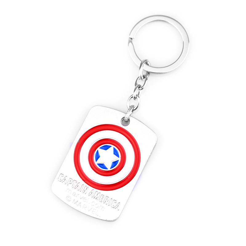 Hot Sale Design Movie Jewelry Captain America Keychain The Avengers Shield Dog Tag llavero Key Chain Keyring Holder Women Men