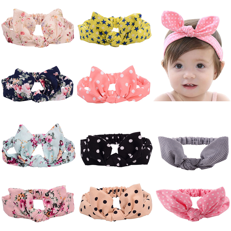 1 PC Kid Baby Girl Cotton Elastic Hairband Children Stretch Turban Knot Rabbit Headband Headwear Baby Hair Band Accessories 10pcs set nylon headband for baby girl hair accessories elastic head band kid children fashion headwear