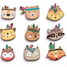 Explosion models Nordic home wood plastic animal wall hanging fox stickers children room decoration cartoon wardrobe
