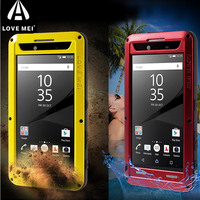 For Sony Z5 Premium Cover LOVE MEI Metal Silicone Gorilla Glass Dropproof Protective Case For Xperia