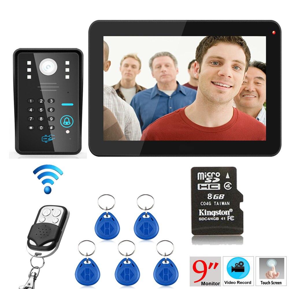 9 Inch 900TVL RFID Password Recording Video Door Phone Intercom Rainproof Night Vision With Wireless Remote Control Unlock