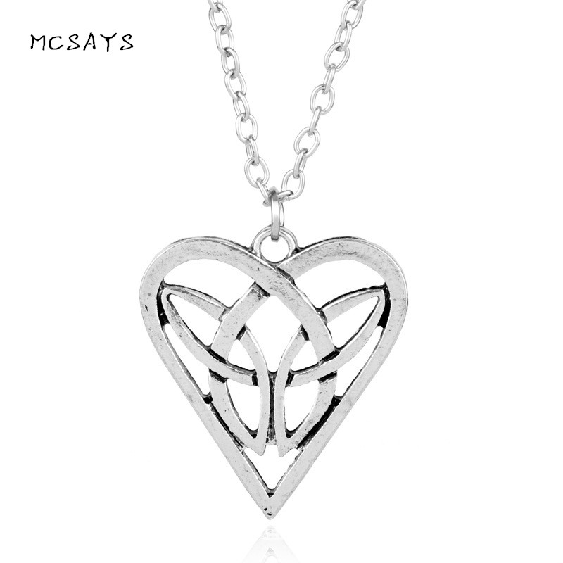 Mcsays Norse Viking Mens Jewelry Odin Great Knot Love Heart Pendant