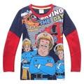 Brand Tops Spring Autumn fashion Kids t-shirts Boys Cotton Long Sleeved Clothes Cartoon Fireman Sam Patterm Tees shirts