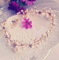 100% Handmade Bride Beaded Rhinestone Tiaras Crystal Bridal Headdress Soft Hairbands Pearl Headband Jewelry Wedding Accessories
