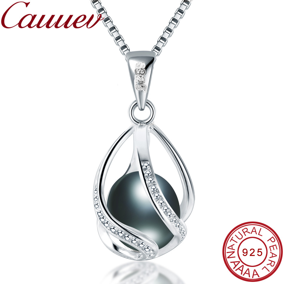 genuine 100% Natural Pearl Jewelry Hot Selling 925 Sterling Silver Pendant Necklace gift For Women Female Jew
