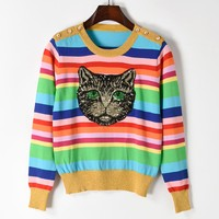 2018 Winter Vintage Runway Designer Brand Knitted Sweater Pullover Cat Pattern Sequins Embroidery Rainbow Striped Jumper Clothes