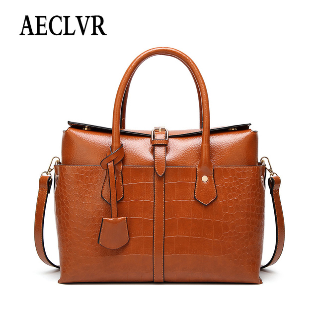 5acfc97ae0 AECLVR Solid Color Ladies Business Style Handbags Alligator Pu Leather  Shoulder Bags For Women Fashion Hasp