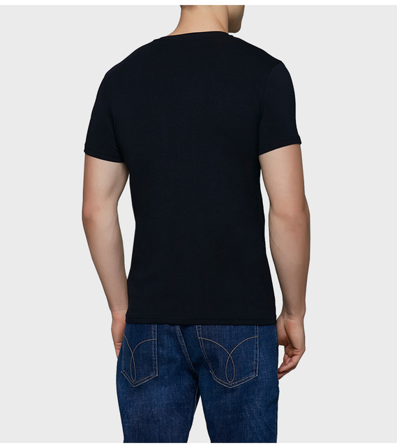 Calvin Klein Jeans / CK 2017 Autumn New Men's Slim Black Fashion Short Sleeved T-shirt Men O-Neck Letter Print Tops Tees 4ASKJB4
