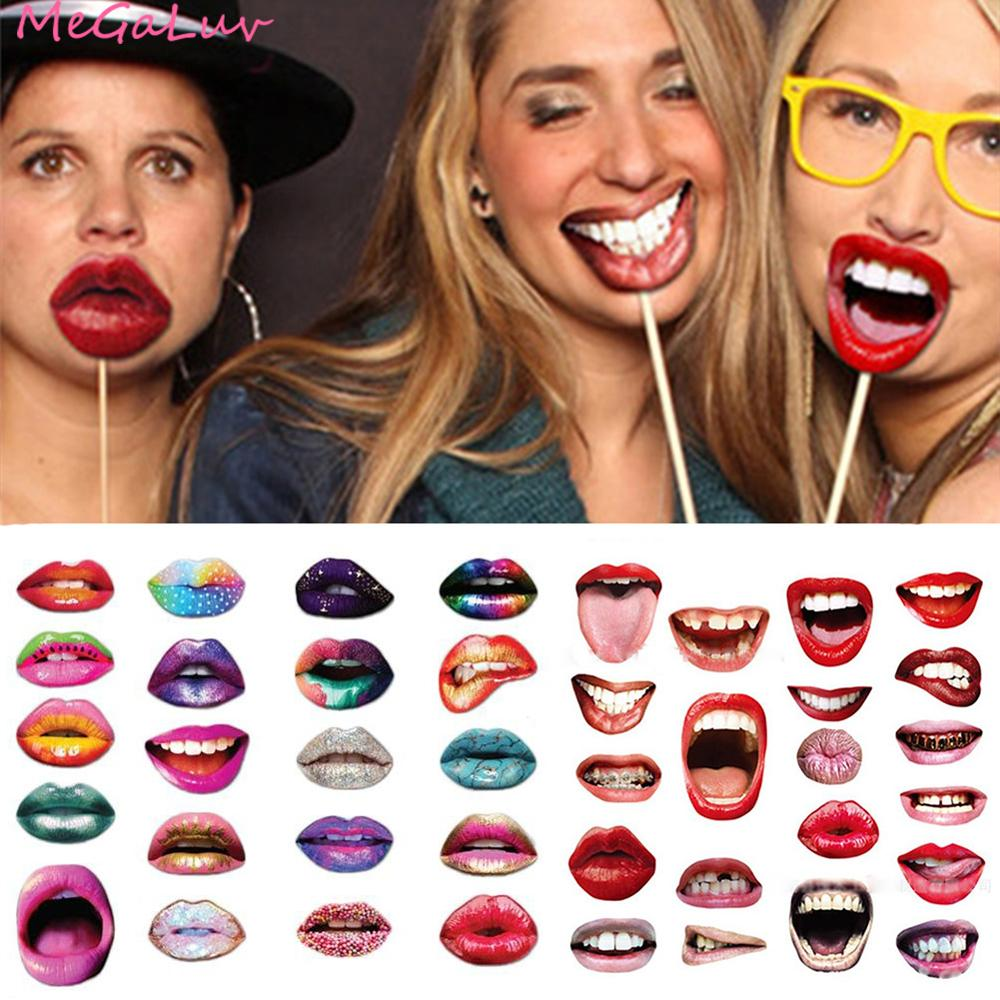 20pcs Funny Lip Mouth Photobooth Props Wedding Decoration Funny Lip Photo Booth Birthday Party Decorations Adult Photo Props