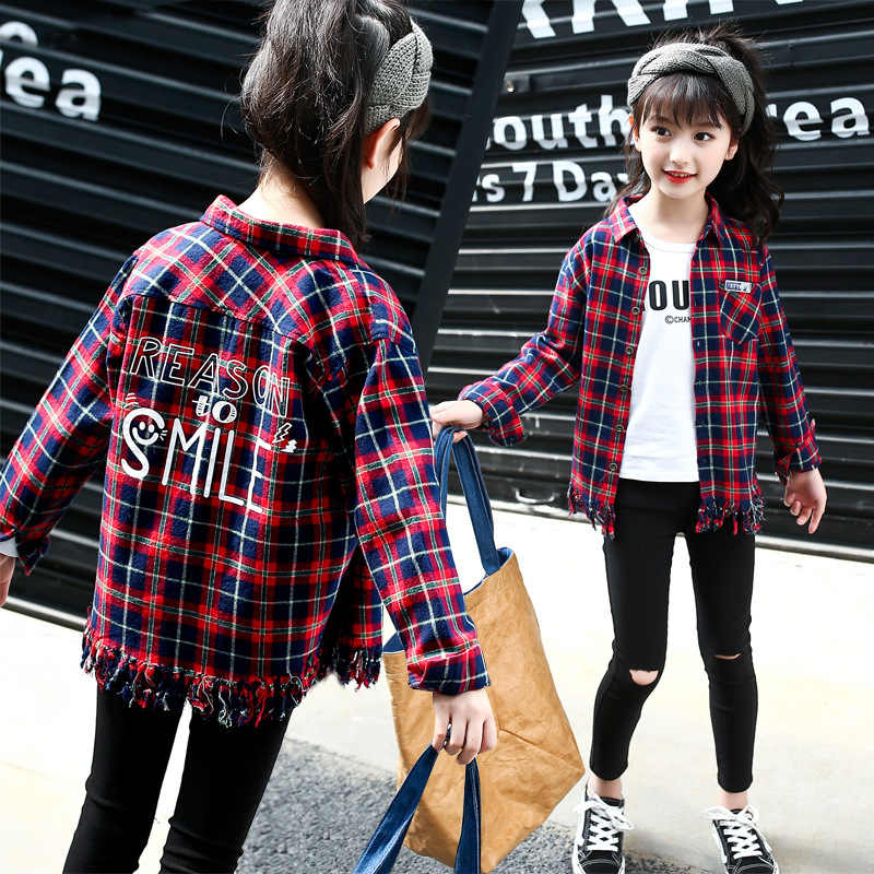 ccceb5812 Girls Fashion Plaid Blouses Autumn Cotton Children Clothing Button Long  Sleeve Shirts For Teenage School Girl