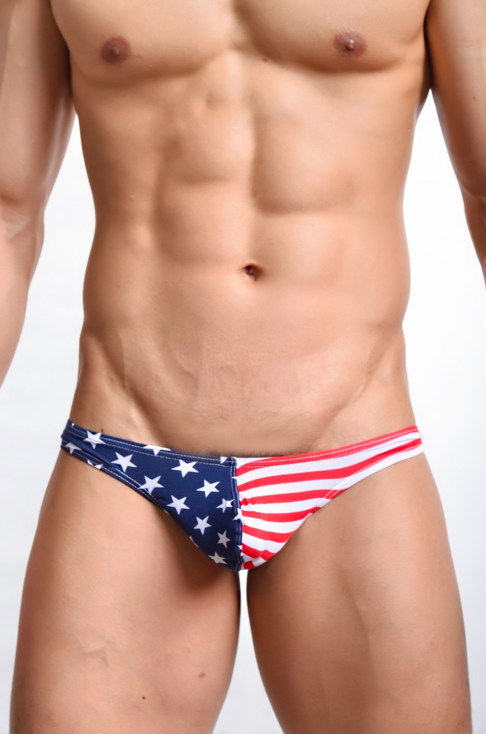 New Sexy Men Stripe Low Rise Thongs Men Sexy G-Strings & Thongs Underwear Penis Pouch Gay Lingerie USA Flag FX1008